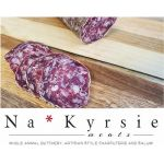 Na*Kyrsie Meats Cacciatore Salami sliced to show texture