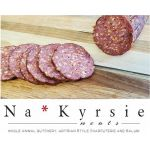 Na*Kyrsie Meats Summer Sausage sliced to show texture